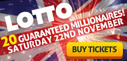 Lotto - 20 Guaranteed Millionaires, Saturday 22nd November